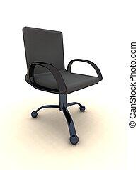 -, 椅子, 黒, オフィス