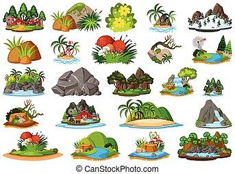 -, 植物, オブジェクト, セット, 地形, 主題, 隔離された