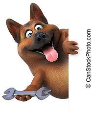 -, 楽しみ, 犬, 3d, 羊飼い, イラスト, ドイツ語