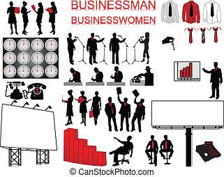 -, 概念, 人々ビジネス, アイコン