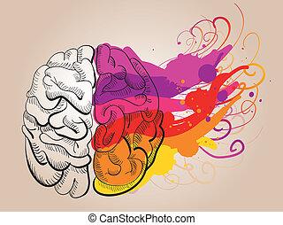 -, 概念, 創造性, 腦子