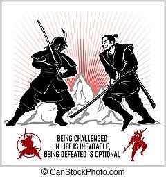 -, 武士劍, 戰士, katana, 決鬥, 二