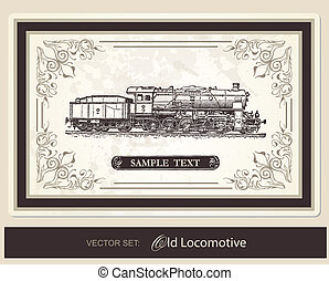 -, 歴史的, ベクトル, セット, 列車