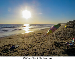 -, 海岸, 日没, 太平洋, カリフォルニア