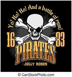 -, 海賊ハット, roger, とても, 頭骨