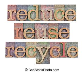 -, 減らしなさい, 再使用, リサイクルしなさい, 保存, 資源