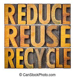 -, 減らしなさい, 再使用, リサイクルしなさい, 保存, 資源, 概念
