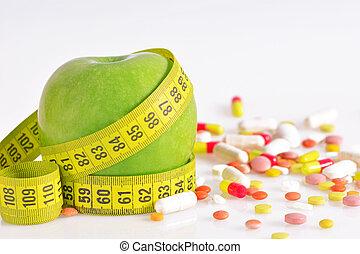 -, 測定, りんご, テープ, 丸薬, 食事, 緑, 概念
