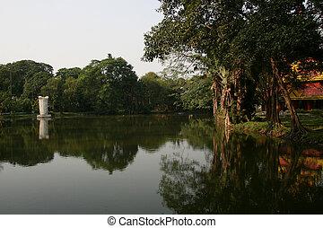 -, 湖, kolkata, 庭, トロピカル, インド, エデン
