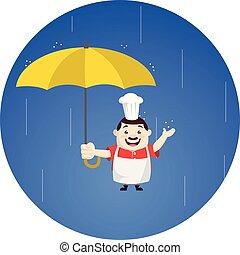 -, 漫画, 脂肪, 面白い, コック, 地位, 傘, 雨