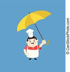 -, 漫画, 脂肪, 面白い, コック, 地位, 傘