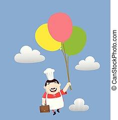 -, 漫画, 脂肪, 面白い, 飛行, コック, 風船
