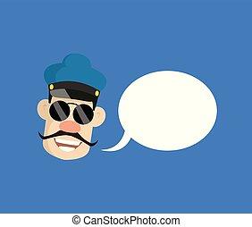 -, 漫画, 警官, 警官, スピーチ泡