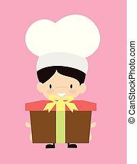 -, 漫画, 贈り物, かわいい, 提出すること, シェフ, 箱