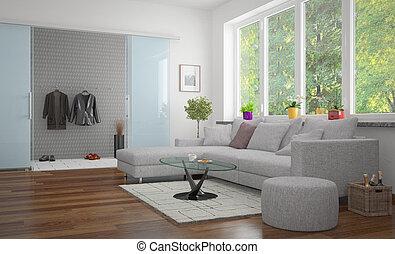 -, 現代, livingroom, 3d