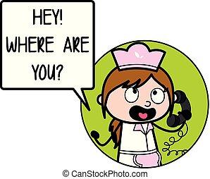-, 电话, 描述, 厨师, 谈话, 矢量, retro, 女性, 卡通漫画, 女服务员