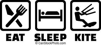 -, 睡眠, 食べなさい, kitesurfing, 凧, 生きている