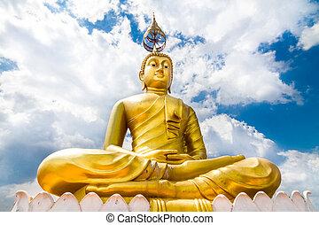-, 石灰岩, 'footprint, thailand., ワット, 洞穴, タワー, krabi, 仏, krabi, tham, tiger, 像, 位置させられた, buddha'., 上, sua
