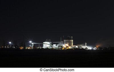 -, 砂糖, 工場, 生産, 化学物質, 夜, ファシリティ