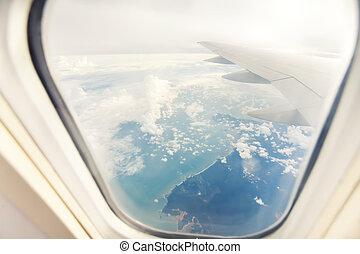 -, 窓, によって, 飛行機の 翼, 光景