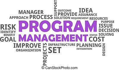 -, 管理, プログラム, 単語, 雲