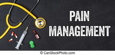 -, 管理, 薬剤, 聴診器, 痛み, 黒板