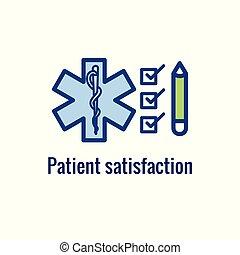 -, 経験, 患者, 評価, 考え, アイコン, 満足, イメージ