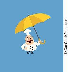 -, 脂肪, 面白い, 地位, シェフ, 傘