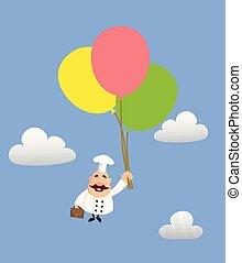 -, 脂肪, 面白い, 飛行, シェフ, 風船