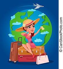-, 若い, イラスト, ベクトル, 旅行者, 女の子