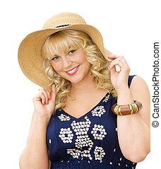 -, 草帽, 女孩, 漂亮, 夏天, 美麗, 穿, 白膚金髮