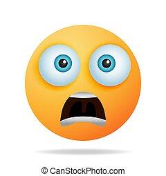 -, 表現, 黄色, 恐れ, surprise., emojis, 衝撃を与えられた, 時制, 驚かせられた, 顔, おびえさせている