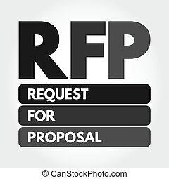 -, 要求, 提案, 頭字語, 概念, rfp