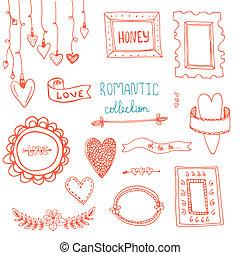 -, 要素, リボン, ロマンチック, 心