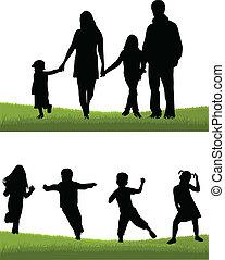-, 親, 子供, 家族