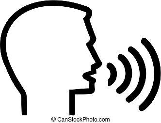 -, 話すこと, スピーチ, アイコン, 頭, セラピスト