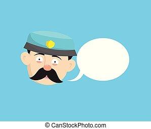 -, 警官, 面白い, 警官, スピーチ泡