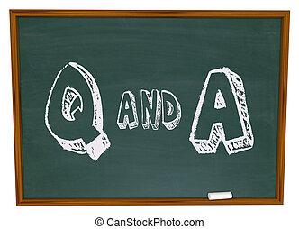 -, 質問, 答え, 黒板