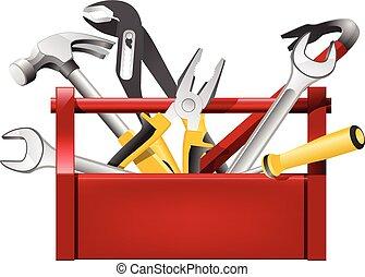 -, 道具箱, 修理人, 赤