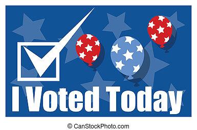 -, 選挙, 旗, 日, 今日, voted