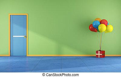 -, 部屋, 風船, レンダリング, カラフルである