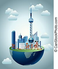-, 都市の景観, shanghai's, 東洋人, 建築, ランドマーク, pearl., 地球