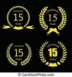 -, 金, ベクトル, 月桂樹, 15, 祝う, 記念日, 年, 花輪