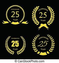 -, 金, 25, 月桂樹, 記念日, セット, 記念祭, 年, 25, 花輪