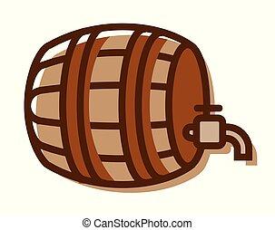 -, 隔離された, イラスト, ビール, ベクトル, 背景, ロゴ, 樽, 白