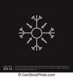 -, 雪の薄片, 創造的, 黒い背景, アイコン