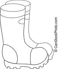 -, 靴, outline., ゴム, 園芸, coloring., ベクトル, イラスト, fishing., 線である, soles, ブーツ, boots., ∥あるいは∥, 庭, non-slip