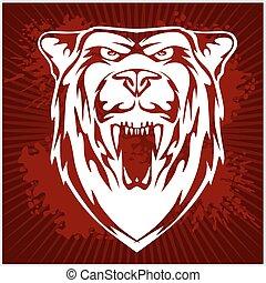 -, 頭, emblem., 白色, 熊