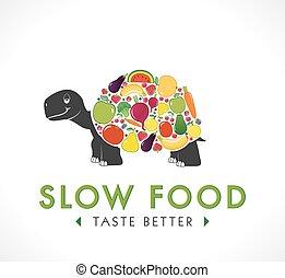 -, 食物, 標識語, 慢, 概念