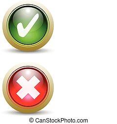 -, 馬克, 按鈕, 對, 檢查, 紅色